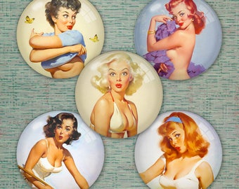 9 Sheets (717 images) of Posh Pin-Up Girls! - 1.5in, 1in, 20mm, 18mm, 16mm, 15mm, 14mm and  12mm Printable Digital Collage - 37.5 MB