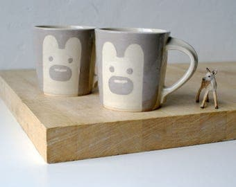 SECONDS SALE - Two tall grey bear mugs glazed in simply clay