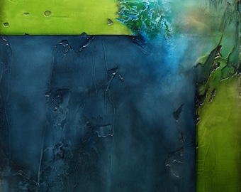 "Abstract Painting Blue Green - ""Damage"""