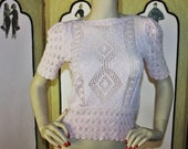 Vintage 80's Crochet Summer Sweater in Pale Pink. Small.