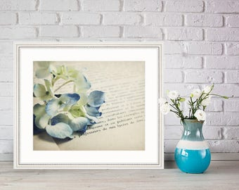 laBlue, French, old book, Floral, I love books, hydrangea, Fine Art Photograph, 8x10