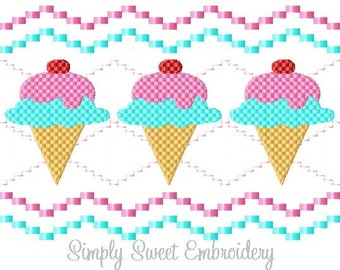 Faux Smocking Ice Cream Machine Embroidery Design
