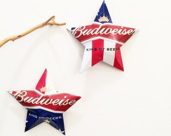 Budweiser Beer Recycled Stars Christmas Ornaments Aluminum Can Upcycled Bud