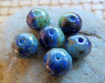 NEW BLENDED DARK Beach . Czech Picasso Glass Beads (10 beads) 6 by 8 mm