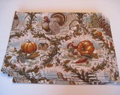 Thanksgiving Turkey Placemats Reversible Set of 4 Pumpkins and Turkey Placemats Fall Harvest Placemats Thanksgiving Table Decor