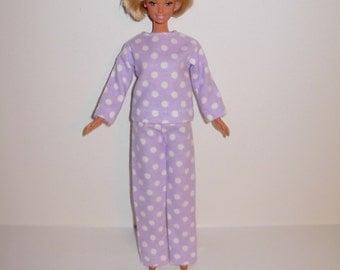 Handmade barbie clothes. Cute pajamas set  for barbie doll Cute