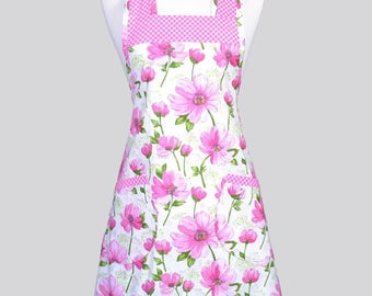 Retro Chef Womans Apron / Vintage Inspired Large Pink Flowers and Pink Gingham Old Fashioned Cute Kitchen Cooking Apron with Pockets