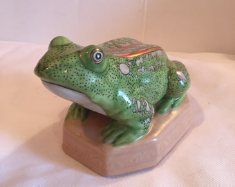 Vintage Green and Pink Ceramic Frog Figurine