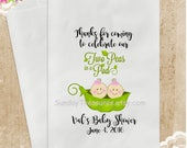 12 PAK Twins Two Peas in a Pod Baby Shower Candy Cookie Party Favor Bags / 5x7 / Girls Boys or Boy & Girl Options / PERSONALIZED 3 DayShip