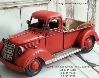 Large Metal Old Fashioned Red Truck Christmas Home Decor, Farm Farmhouse, Western, Primitive, Country Lumberjack Birthday