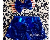 BABY GIRL HEADBAND and Royal Blue sequin shorts , Sparkle Sequin Shorts-birthday outfit- girls sequin shorts- toddler shorts- Baby Shorts