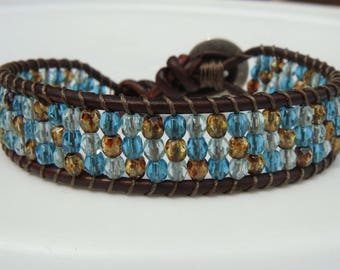 Turquoise and Sea Green Beaded Leather Bracelet