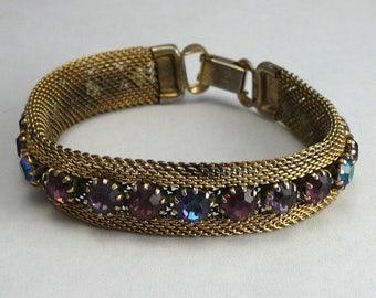 Weiss Purple Rhinestone Mesh Bracelet Pink Blue