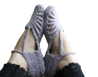 Hand Crochet Silver Gray Slippers / gift for her / home slippers / bridal slippers