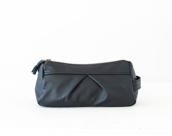 Black leather accessory bag makeup case, cosmetic bag toiletry case zipper utility bag zipper case  storage - Estia Bag