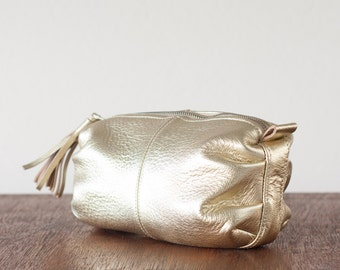 Toiletry storage case in gold coated genuine leather, cosmetic bag vanity  accessory bag case - Ariadne makeup bag