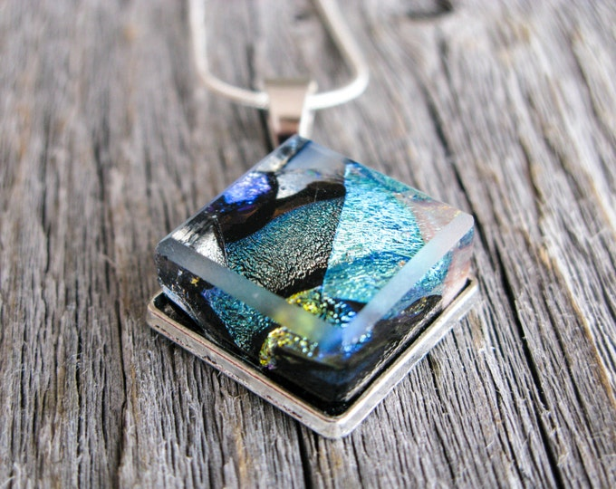 pendant necklace, dichroic glass, fused glass pendant, dichroic necklace, black and blue, blue glass, blue necklace, gift for her