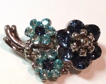 Vintage Brooch Aqua and Blue Rhinestone Flower Pin