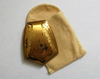 Vintage American Beauty Compact..Goldtone Floral Embossed Compact..Compact and Cloth Holder..Gift for Her