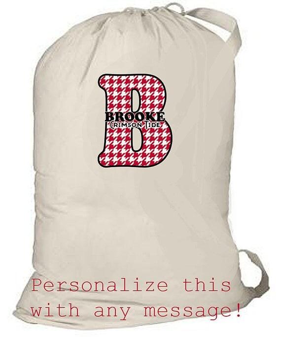 Large Laundry Bag, Monogrammed laundry tote bag, College laundry bag, Alabama Crimson Tide, Grad Gift, Graduation laundry bag, monogrammed
