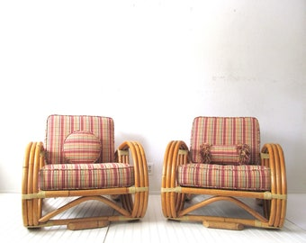 Mid Century Rattan Pretzel Chair Pair, Retro Tikki Lounge Seating