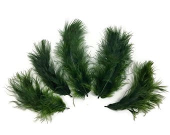 Fluffy Feathers, 1/4 lb - Olive Green Turkey Marabou Short Down Fluffy Loose Wholesale Feathers (bulk) : 4253