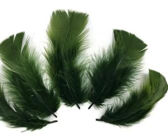 Turkey Small Feathers, 1/4 Lb - Olive Green Turkey T-Base Plumage Wholesale Feathers (Bulk) : 4257