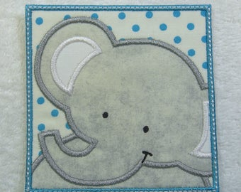 Elephant Patch Fabric Embroidered Iron On Applique Patch Ready to Ship