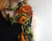 Mustard Flowers Bouquet with Leaves Fairy Felted Necklace