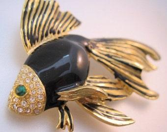 XMAS SALE Vintage Tropical Fish Brooch Black Enamel Rhinestone Signed CRAFT ( Gem-Craft ) Costume Jewelry Jewellery