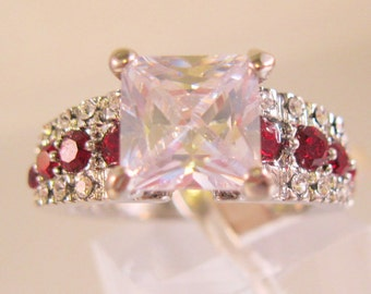 3ct Princess Cut CZ & Red Stone Ring Size 8 Rhodium Plated with Original Tag Vintage Jewelry Jewellery