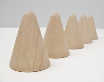 """5 Wooden cones 2"""" tall, wooden contemporary Christmas tree, unfinished DIY"""