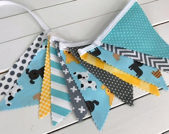 Party Decoration,Puppy Party,Birthday Decoration,Bunting,Fabric Banner Flags,Photo Prop - Aqua Blue, Gray, Yellow, Puppies, Dogs, Grey