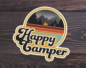 "Happy Camper Sticker, Die Cut, Vinyl, 2.25"" - Retro Sticker, Outdoor Sticker, Camping Sticker"