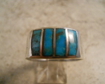 Vintage Sterling Silver Inlaid Turquoise Ring Size 11 1/2