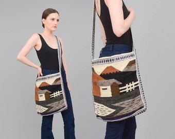 SCENIC 70s Tapestry Purse, Hippie Cross Body, 70s Ethnic Woven Bag, Large Boho Purse, Long Strap Southwestern Bag