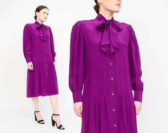 PIERRE CARDIN 80s Purple Dress - Designer Vintage Dress Ascot Pussy Bow Silk Dress - Long Sleeve Button Up Pleated Shirt Dress - Small S