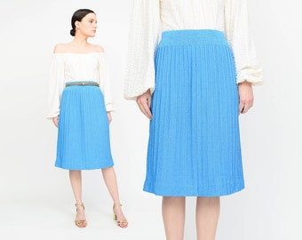 Vintage 80s Blue Skirt | Knit Sweater Skirt | High Waist Pencil Skirt | Knee Length Minimal Skirt | Small S