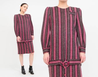 Vintage 80s Striped Wool Dress - Mod Drop Waist Dress - Long Sleeve Sac Dress - Pocket Square Rhinestone Buckle - Pink Gray - Small S