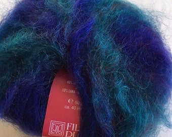 Filatura di Crosa Fancy Baffo #2 Sapphire - Blue, Turquoise, Green, Wine, Multi Long-Haired Printed Mohair Blend Yarn - Super Bulky - Sale!