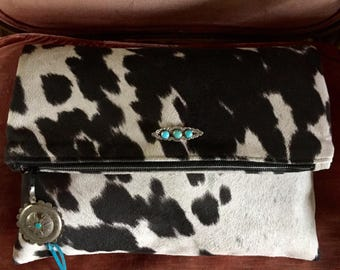 Faux Cowhide Clutch, Turquoise Brooch, Roses