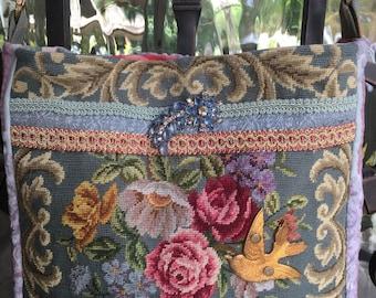 Vintage Petit Point Roses, Needlepoint Flowers, Bird, Velvet Chenille, Vintage Barkcloth, Blue Rhinestones Handbag