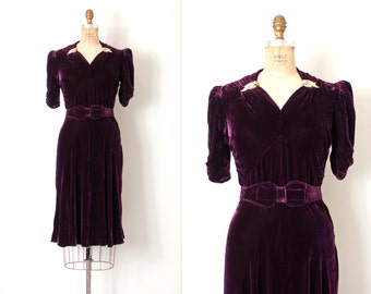 vintage 1930s dress / eggplant silk velvet 1930s dress / Dreamweaver