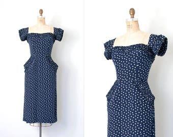 vintage 1950s dress / 50s silk wiggle dress / polka dot print