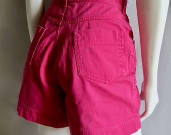 Vintage Women's 80's Forenza, Hot Pink, Jean Shorts, High Waisted (M)