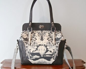 Aster handbag in Jennifer Sampou Modern Toile in Charcoal and black cork with optional cross body strap