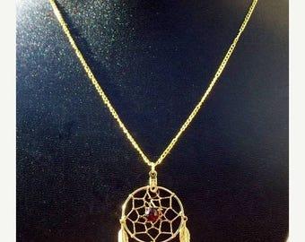 ON SALE Gold & Garnet Dream catcher necklace - Seminole Wind ll