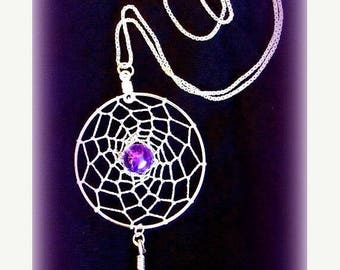 1daySALE AMAZING AMETHYST Dreamcatcher with amethyst, Sterling silver, dream catcher necklace, silver dreamcatcher necklace, Amethyst silver
