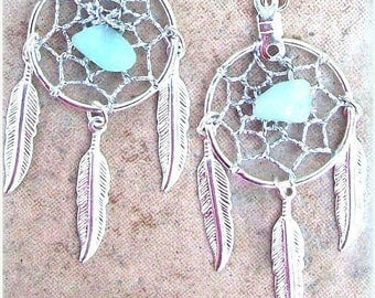 EPIC SALE DREAM Catcher Earrings with Amazonite, dreamcatcher dangle silver feather earrings, Native American, boho, silver feather dream ca
