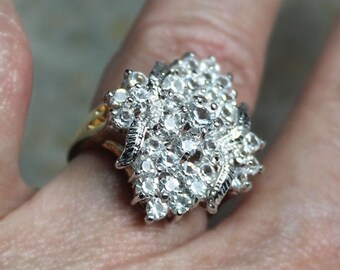 Multi-stone CZ Cluster Ring,  White Dinner Ring, Size 7, Cubic Zirconia Cocktail Ring